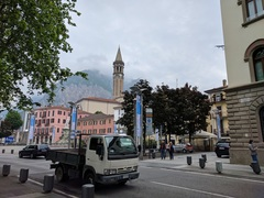Lecco town center with climbing areas in background.