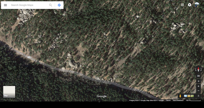 """This is a map of the parking area and the beginning of the trail in relation to """"Flake Traverse""""."""