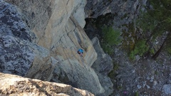 Rock Climbing Photo: Neena follows Fun Run on Great White wall, Skaha