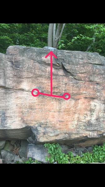 Rock Climbing Photo: Start where circles are dyno to the top or reach o...