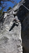 Rock Climbing Photo: Casey just getting into the crux of the climb! del...
