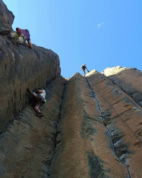 Rock Climbing Photo: Air Guitar, to the right. Crowded day at Vantage o...