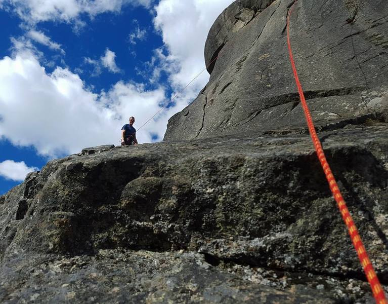 Rock Climbing Photo: looking up at the crux .10c optional crack climb