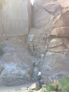 Rock Climbing Photo: At base of route, rope still at the anchor showing...