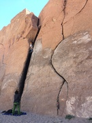 Rock Climbing Photo: Struggling at the top of the 5.8 chimney variation...