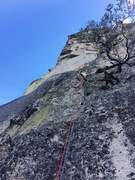 Rock Climbing Photo: Heading up start of pitch 8.  About to cut around ...
