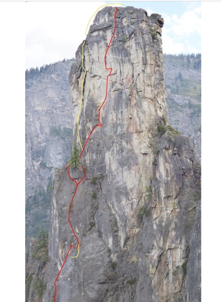 Upper half of route.  Shows pitch 6 var. and LLTC headwall var.