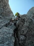Rock Climbing Photo: Sam soloing up the owen chimney above me. Fortunat...