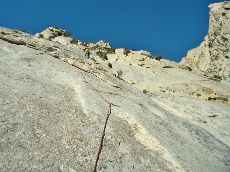 Paul leading. It was one of his first granite slab routes after growing up climbing at the gunks. Can you say spanked a little?