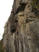 Rock Climbing Photo: Sandor Nagy on the upper section of Sunnyside Up.