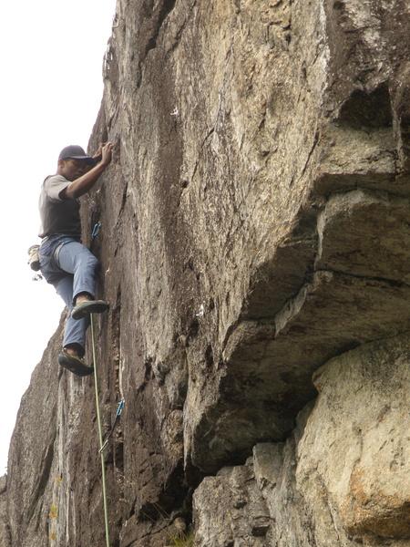 Rock Climbing Photo: Brnadon Blackburn on the upper section of Sunnysid...