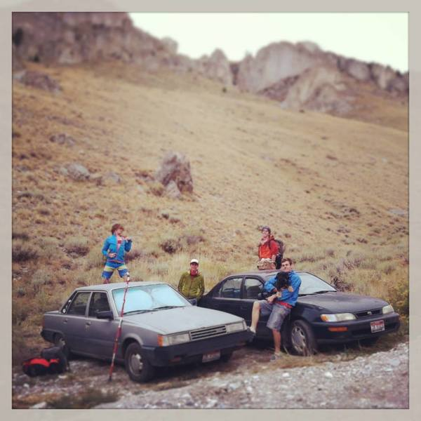The usual parking rituals.  Shown from L to R is Sam Bones, Joe Crane, Myself, Aaron Turley, and Boone