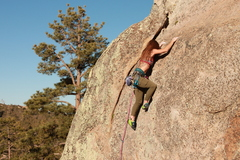 Rock Climbing Photo: Meg on lead