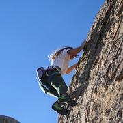Rock Climbing Photo: Meg leading Gold Bug 5.8