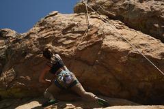 Rock Climbing Photo: Meg top roping Reach for the Sky 10.b