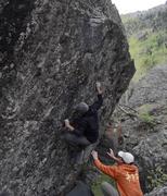 Rock Climbing Photo: Karma, V3+.  Mine Boulders, Telluride, CO.