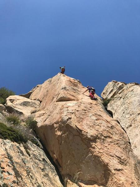 Katie and Jed climbing south facing Monster Rocks.