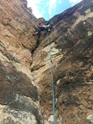 Rock Climbing Photo: Tony moving smoothly to the last bolt before the a...