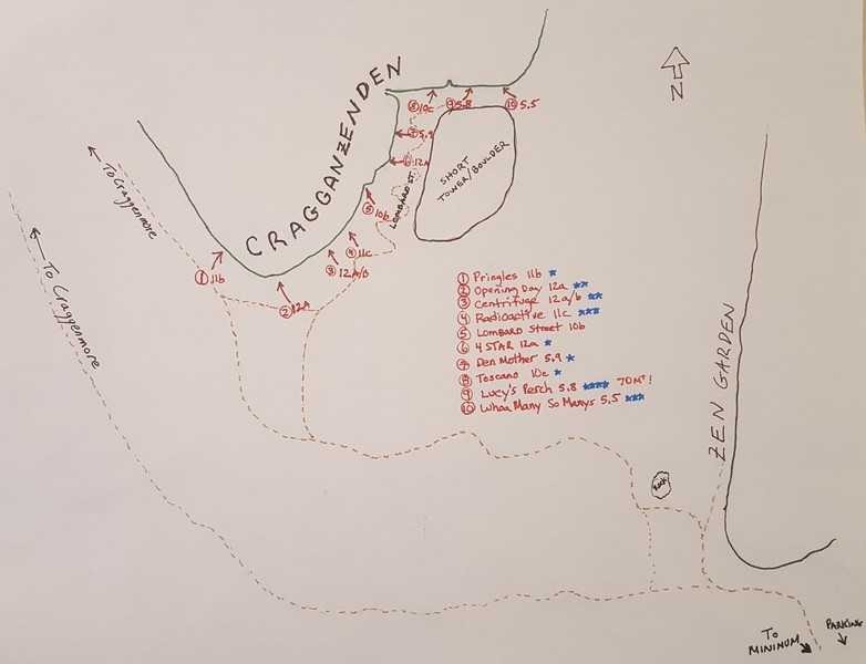 Rock Climbing Photo: Overview Map of Cragganzenden