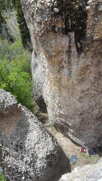 Rock Climbing Photo: Looking down on Cragganzenden as taken from part w...