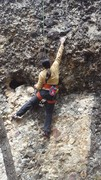 Rock Climbing Photo: Joi reaching for the starting jug while cleaning t...