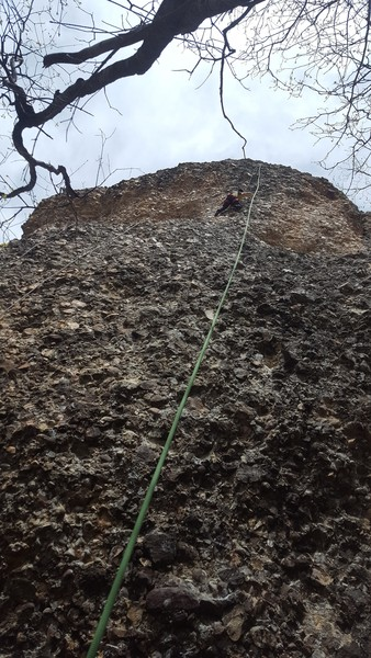 Rock Climbing Photo: The finish of Radioactive gets steep after a relax...