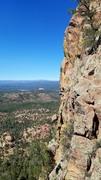 Rock Climbing Photo: Mike Knarzer at the crux of Apacheria. It's tough ...