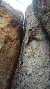 Rock Climbing Photo: Joi cleaning the draws off Toscano 10c, Cragganzen...