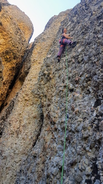Joi was all smiles on the first ascent of Lucy's Perch 5.8-, Cragganzenden.