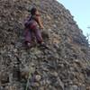 Joi Matsukawa leading the first ascent of Whoa Many So Manys 5.5, Cragganzenden.