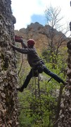 Rock Climbing Photo: A precarious stem in a light rain while drilling t...