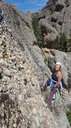 Rock Climbing Photo: Cleaning up the top of Whoa Many So Manys.  Its no...