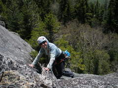 "Rock Climbing Photo: SM near the end of P1 (Her hand is on the ""St..."