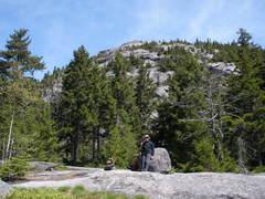 """Rock Climbing Photo: S Matz beside the """"landmark"""" boulder"""
