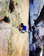 Rock Climbing Photo: Belen Ladd following the Mega Darwin Splitter!! P...