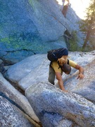 Rock Climbing Photo: Jonathan Reinig approaching The Y Crack Splitter w...