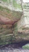 Rock Climbing Photo: Possible route. Go up the crack. Not sure how to t...