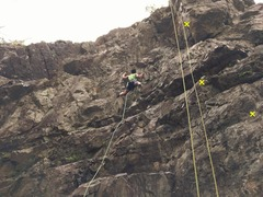 Rock Climbing Photo: Namby-Pamby route is the one with the green rope (...