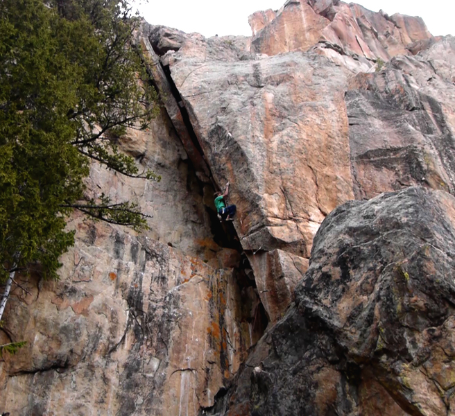 Rock Climbing Photo: The rad arete section down low.