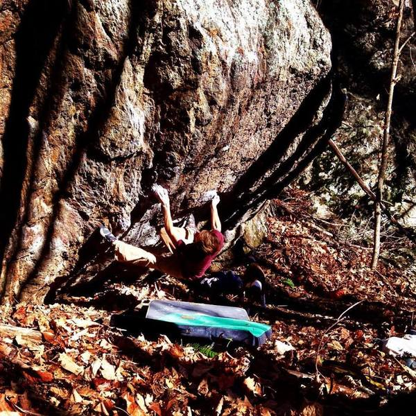 "Rock Climbing Photo: ""Freshman 15"" (V8-) FA in the Big Ivy Wi..."