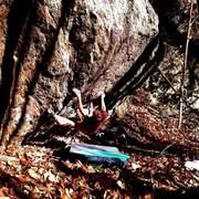 """Freshman 15"" (V8-) FA in the Big Ivy Wilderness Area"