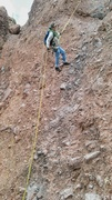 Rock Climbing Photo: Dano rappelling the Head wall with No girth hitche...