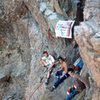 Suicide, Dano, Steve, Richard, Flying the Pirate Flag, 8 people on the route, about 1980,