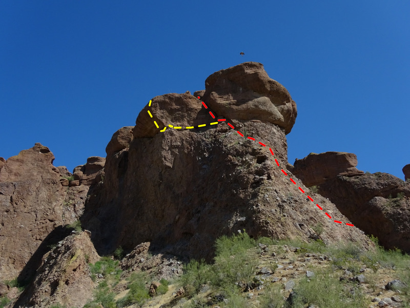 Last Big Problem? Big Bird, Red route - Ridge Route, Yellow Route, possible new overhang route,  Photo by Richard