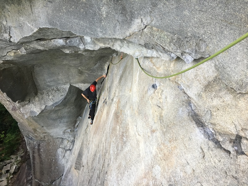 Rock Climbing Photo: Charles cleans a piece on pitch 1