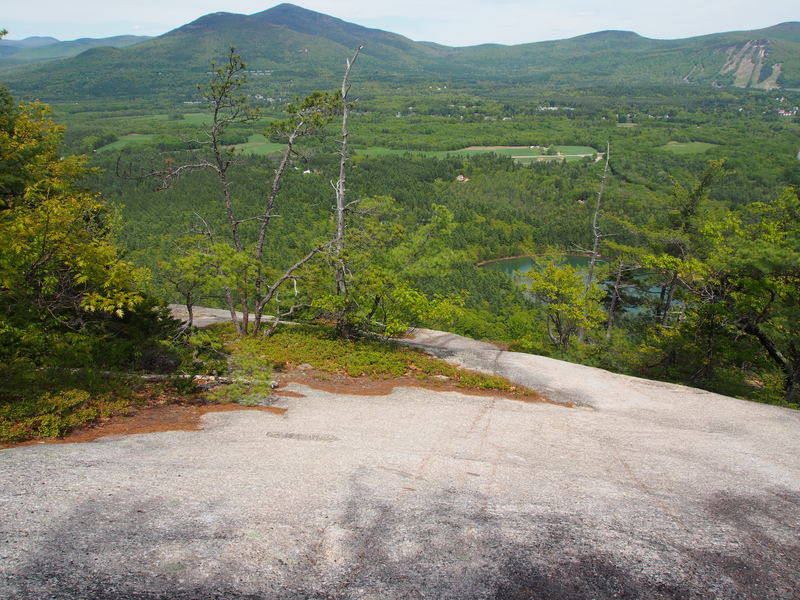 """Looking down from 100 ft south of path. Scramble down and viewer's left to the left end of a large tree island. You'll then be just about exactly at the top of """"The Last Wave""""."""
