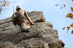 Rock Climbing Photo: Tim on the spectacular finish of Wild Black.