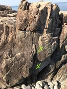 Rock Climbing Photo: One partially bolted route. This is the first big ...