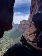 Rock Climbing Photo: Stephan Blaskovics, hanging in the chimney atop P6...