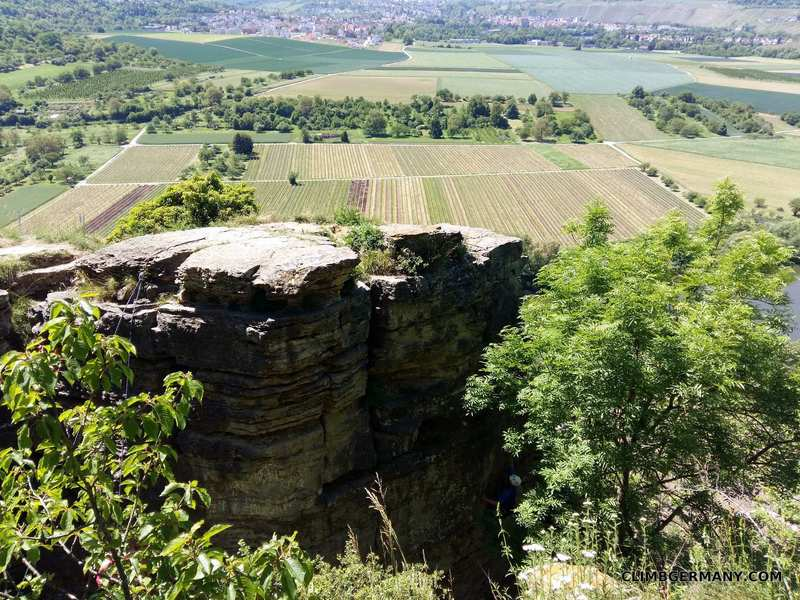 The first parts of the crag you'll see on the bluffs overlooking the Neckar river.